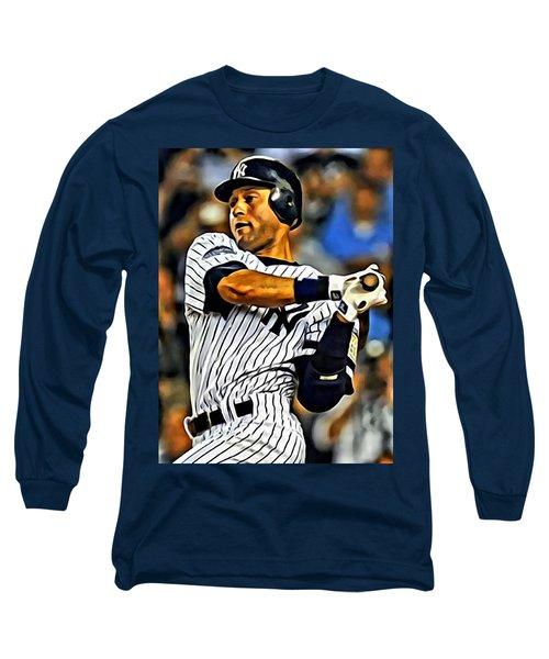 Derek Jeter In Action Long Sleeve T-Shirt by Florian Rodarte