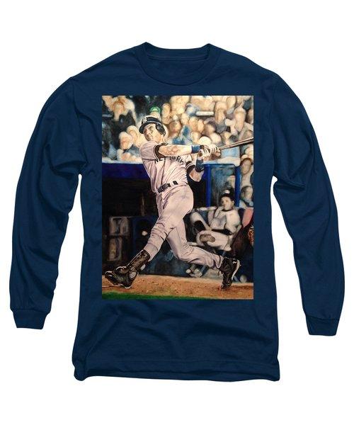 Derek Jeter Long Sleeve T-Shirt by Lance Gebhardt