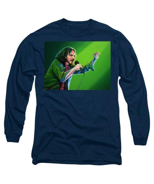 Eddie Vedder Of Pearl Jam Long Sleeve T-Shirt by Paul Meijering