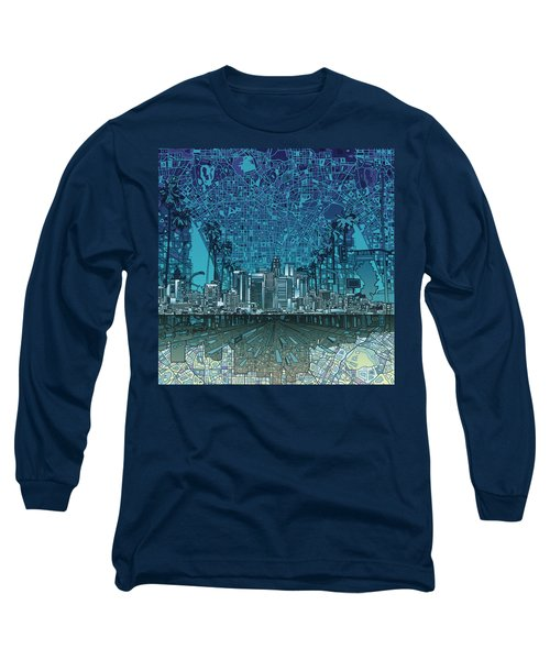 Los Angeles Skyline Abstract 5 Long Sleeve T-Shirt by Bekim Art