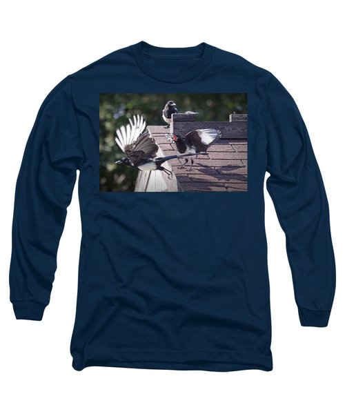 Magpie Dispute Long Sleeve T-Shirt by Randall Nyhof