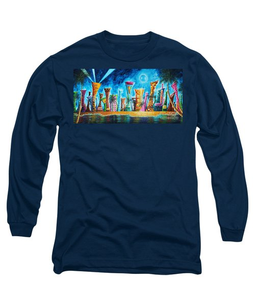 Miami City South Beach Original Painting Tropical Cityscape Art Miami Night Life By Madart Absolut X Long Sleeve T-Shirt by Megan Duncanson