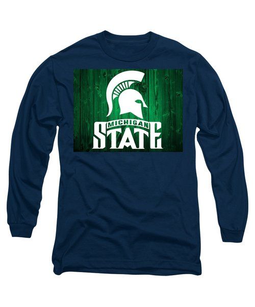 Michigan State Barn Door Long Sleeve T-Shirt by Dan Sproul