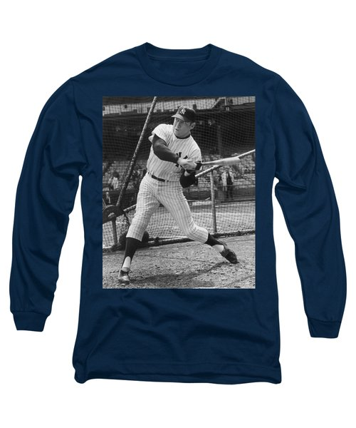 Mickey Mantle Poster Long Sleeve T-Shirt by Gianfranco Weiss