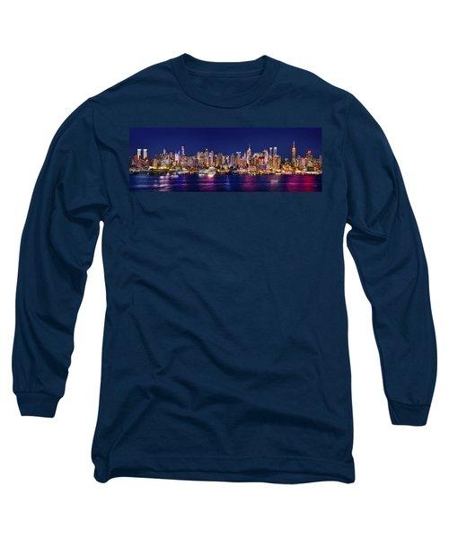 New York City Nyc Midtown Manhattan At Night Long Sleeve T-Shirt by Jon Holiday