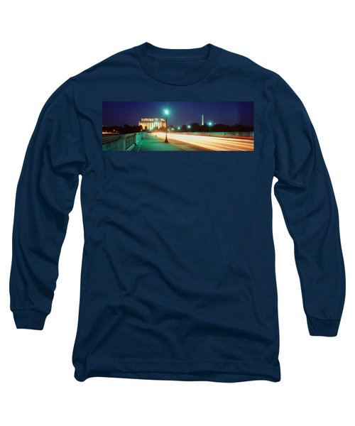 Night, Lincoln Memorial, District Of Long Sleeve T-Shirt by Panoramic Images