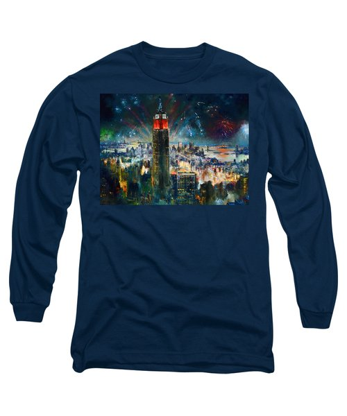 Nyc In Fourth Of July Independence Day Long Sleeve T-Shirt by Ylli Haruni