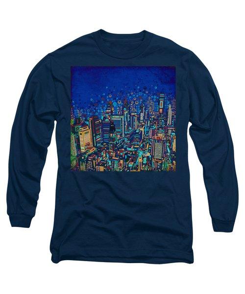 Philadelphia Panorama Pop Art 2 Long Sleeve T-Shirt by Bekim Art