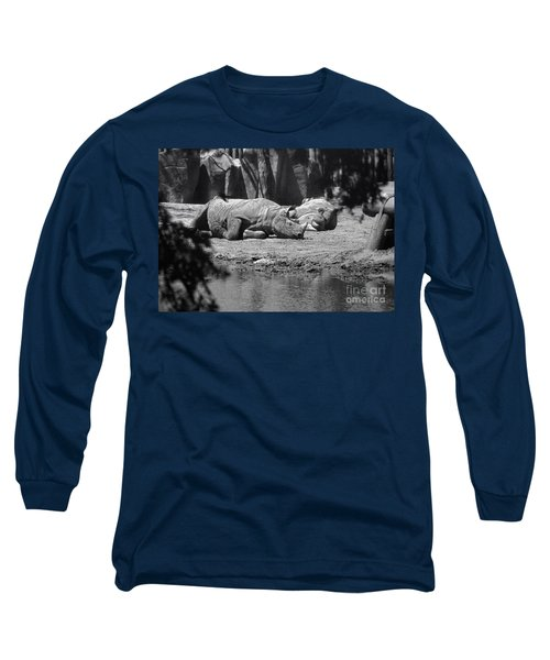 Rhino Nap Time Long Sleeve T-Shirt by Thomas Woolworth