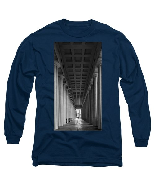 Soldier Field Colonnade Chicago B W B W Long Sleeve T-Shirt by Steve Gadomski