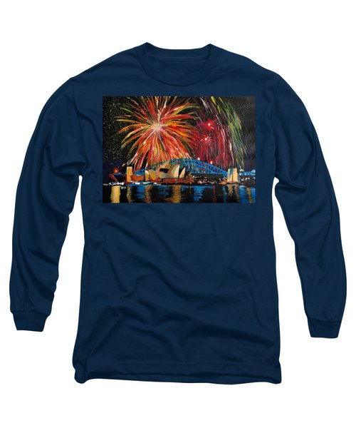 Sydney Silvester Fireworks At New Year Long Sleeve T-Shirt by M Bleichner