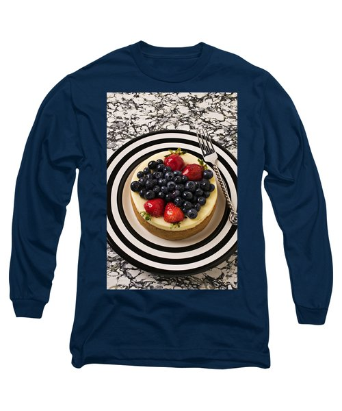 Cheese Cake On Black And White Plate Long Sleeve T-Shirt by Garry Gay