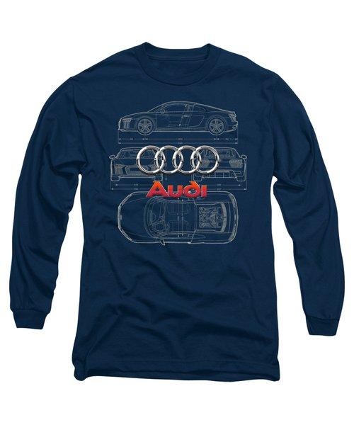 Audi 3 D Badge Over 2016 Audi R 8 Blueprint Long Sleeve T-Shirt by Serge Averbukh