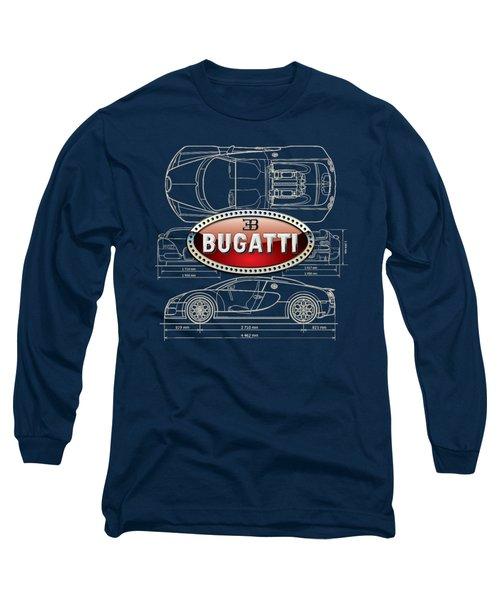 Bugatti 3 D Badge Over Bugatti Veyron Grand Sport Blueprint  Long Sleeve T-Shirt by Serge Averbukh
