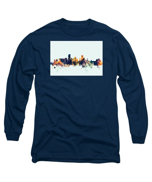 Miami Florida Skyline Long Sleeve T-Shirt by Michael Tompsett