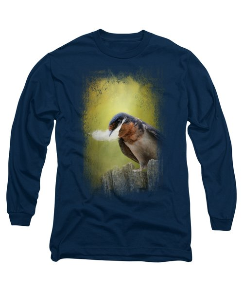 A Feather For Her Nest Long Sleeve T-Shirt by Jai Johnson