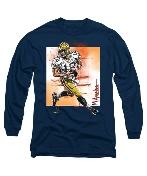 Aaron Rodgers Scrambles Long Sleeve T-Shirt by Maria Arango