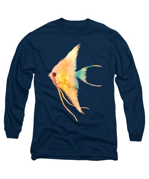 Angelfish II - Solid Background Long Sleeve T-Shirt by Hailey E Herrera