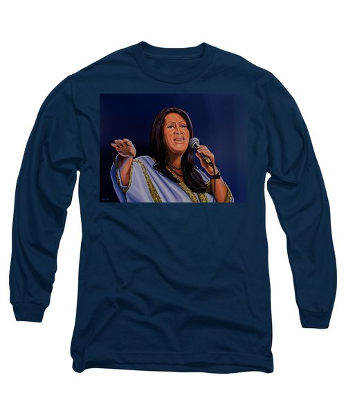 Aretha Franklin Painting Long Sleeve T-Shirt by Paul Meijering