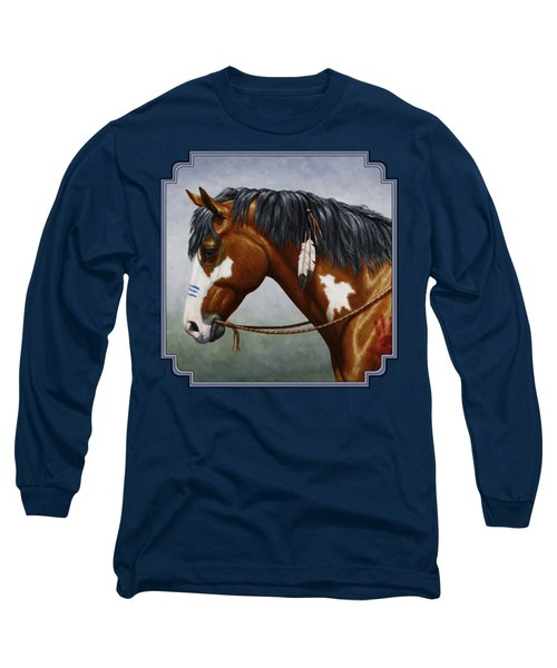 Bay Native American War Horse Long Sleeve T-Shirt by Crista Forest