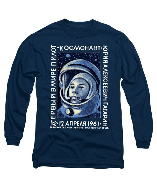 1961 First Man In Space, Yuri Gagarin Long Sleeve T-Shirt by Historic Image