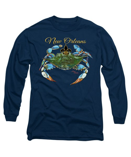 Louisiana Blue On Red Long Sleeve T-Shirt by Dianne Parks