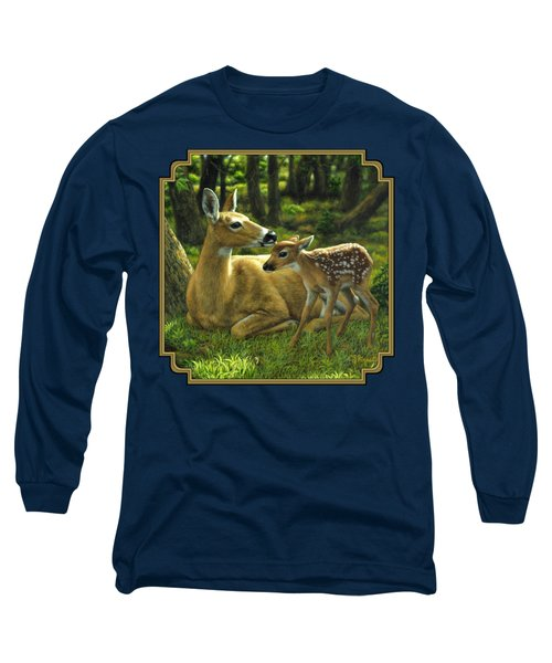 Whitetail Deer - First Spring Long Sleeve T-Shirt by Crista Forest