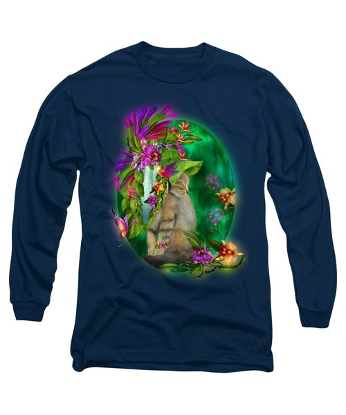 Cat In Tropical Dreams Hat Long Sleeve T-Shirt by Carol Cavalaris
