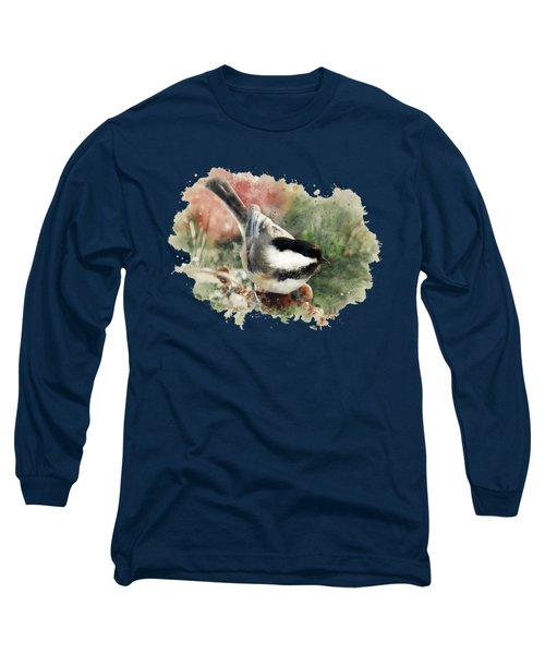 Beautiful Chickadee - Watercolor Art Long Sleeve T-Shirt by Christina Rollo