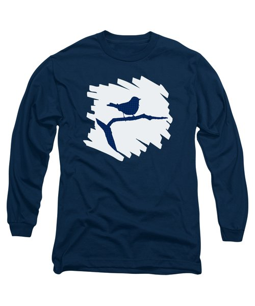 Blue Bird Silhouette Modern Bird Art Long Sleeve T-Shirt by Christina Rollo
