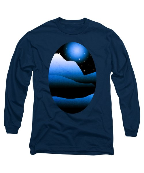 Blue Moon Mountain Landscape Art Long Sleeve T-Shirt by Christina Rollo