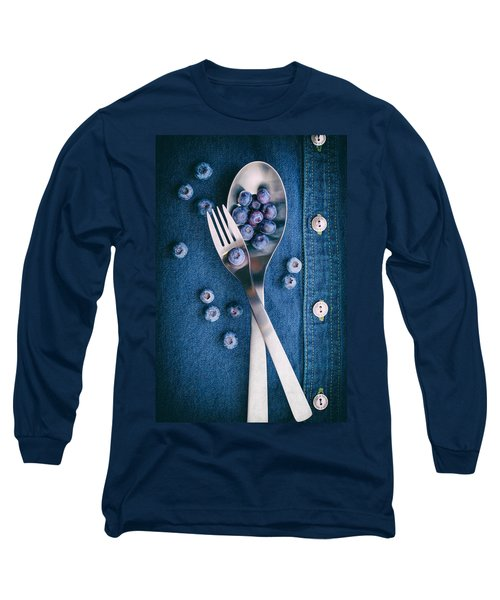 Blueberries On Denim II Long Sleeve T-Shirt by Tom Mc Nemar