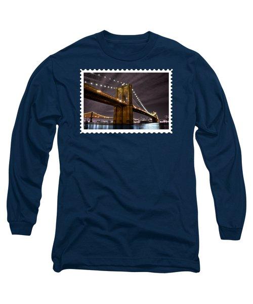 Brooklyn Bridge At Night New York City Long Sleeve T-Shirt by Elaine Plesser