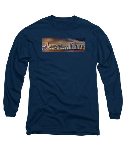 Chicago Skyline At Night Panorama Color 1 To 3 Ratio Long Sleeve T-Shirt by Jon Holiday