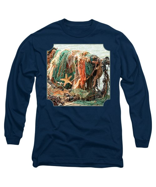 Colorful Catch - Starfish In Fishing Nets Square Long Sleeve T-Shirt by Gill Billington
