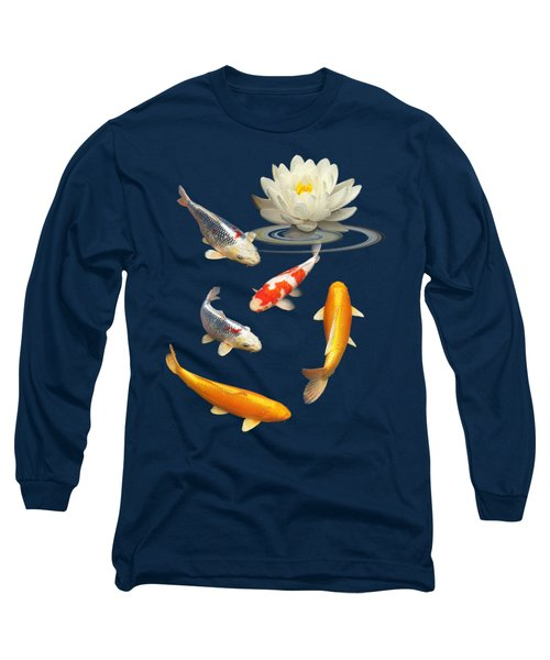Colorful Koi With Water Lily Long Sleeve T-Shirt by Gill Billington