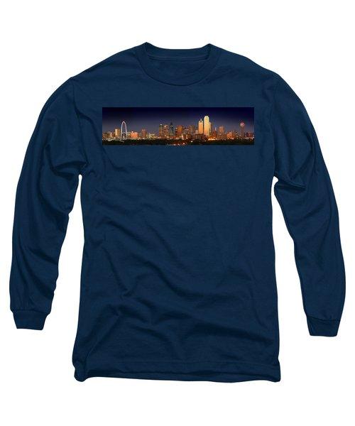 Dallas Skyline At Dusk  Long Sleeve T-Shirt by Jon Holiday