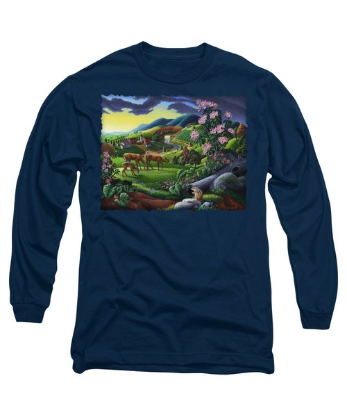 Deer Chipmunk Summer Appalachian Folk Art - Rural Country Farm Landscape - Americana  Long Sleeve T-Shirt by Walt Curlee