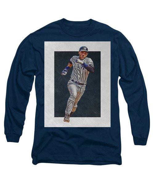 Derek Jeter New York Yankees Art 3 Long Sleeve T-Shirt by Joe Hamilton