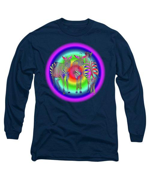 Disco Zebra Pop Art Long Sleeve T-Shirt by Gill Billington
