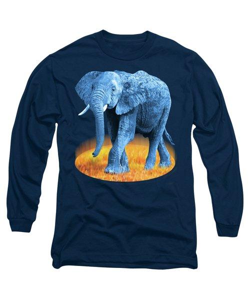 Elephant - World On Fire Long Sleeve T-Shirt by Gill Billington