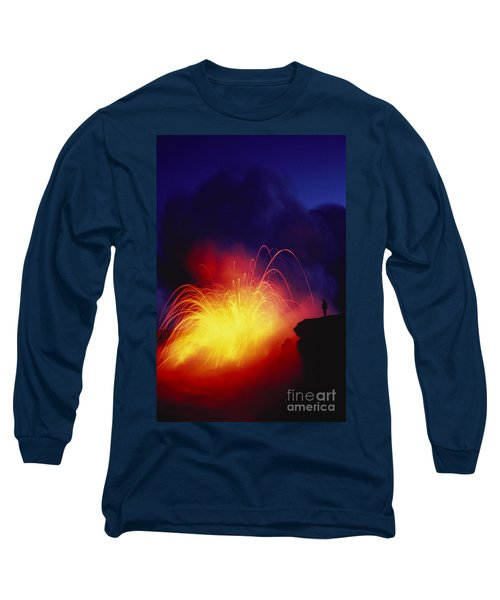 Exploding Lava And Person Long Sleeve T-Shirt by Greg Vaughn - Printscapes