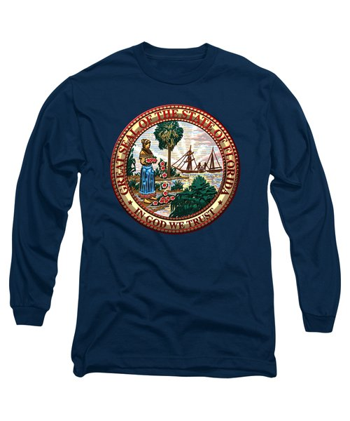 Florida State Seal Over Blue Velvet Long Sleeve T-Shirt by Serge Averbukh
