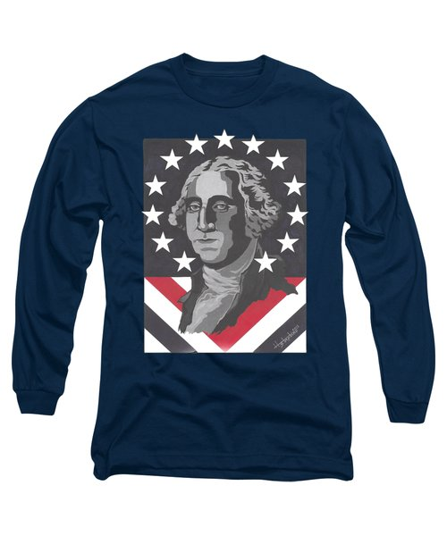 George Washington Long Sleeve T-Shirt by Herb Strobino