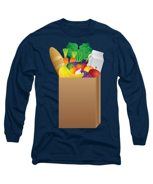 Grocery Paper Bag Of Food Illustration Long Sleeve T-Shirt by Jit Lim