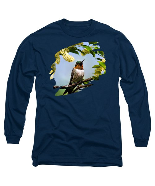 Hummingbird With Flowers Long Sleeve T-Shirt by Christina Rollo