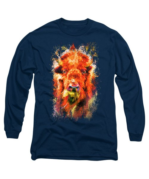 Jazzy Buffalo Colorful Animal Art By Jai Johnson Long Sleeve T-Shirt by Jai Johnson
