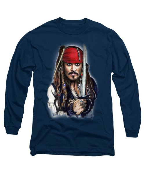 Johnny Depp As Jack Sparrow Long Sleeve T-Shirt by Melanie D