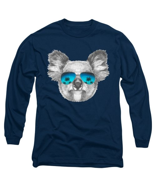 Koala With Mirror Sunglasses Long Sleeve T-Shirt by Marco Sousa
