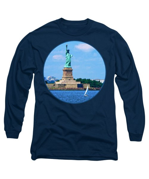 Manhattan - Sailboat By Statue Of Liberty Long Sleeve T-Shirt by Susan Savad